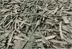 Conglomeration of machetes used during the Rwandan genocide